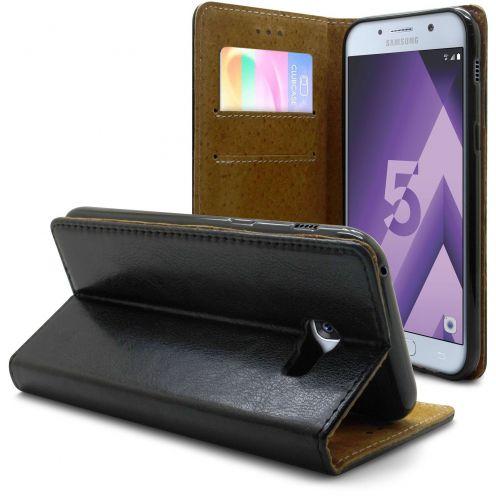 Etui Italia Folio Stand Samsung Galaxy A5 2017 (A520) Cuir Véritable Bovin Noir