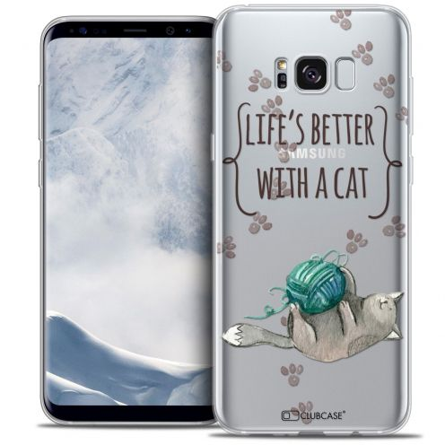 Coque Crystal Gel Samsung Galaxy S8 (G950) Extra Fine Quote - Life's Better With a Cat