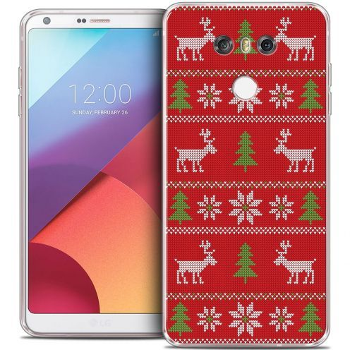 Coque Crystal Gel LG G6 Extra Fine Noël 2016 - Couture Rouge