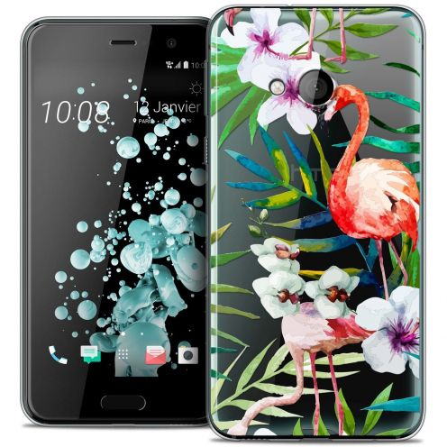 Coque Crystal Gel HTC U Play Extra Fine Watercolor - Tropical Flamingo