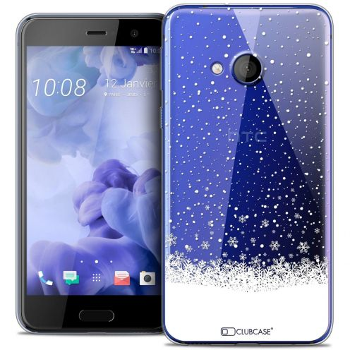 Coque Crystal Gel HTC U Play Extra Fine Noël 2016 - Flocons de Neige
