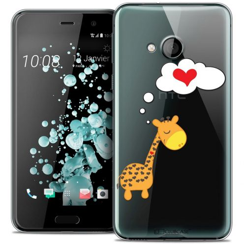 Coque Crystal Gel HTC U Play Extra Fine Love - Girafe Amoureuse