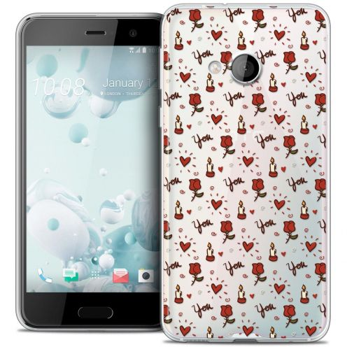 Coque Crystal Gel HTC U Play Extra Fine Love - Bougies et Roses