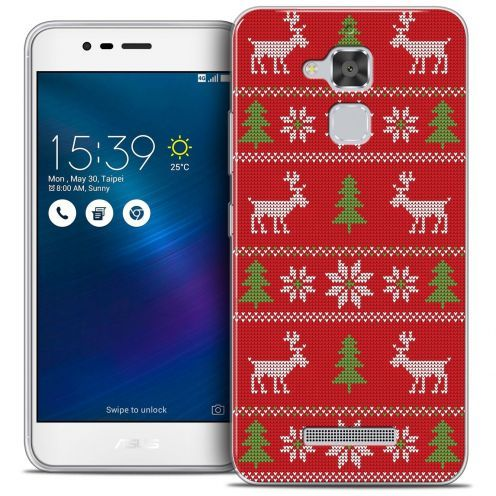 """Coque Crystal Gel Asus Zenfone 3 Max ZC520TL (5.2"""") Extra Fine Noël 2016 - Couture Rouge"""