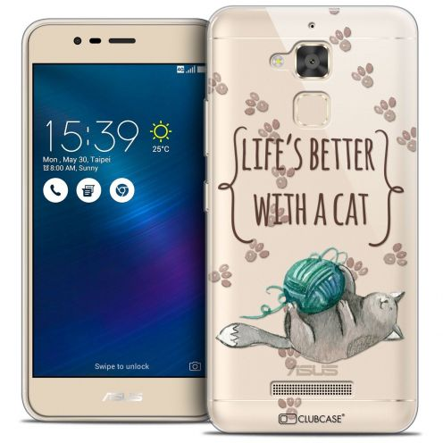 "Coque Crystal Gel Asus Zenfone 3 Max ZC520TL (5.2"") Extra Fine Quote - Life's Better With a Cat"