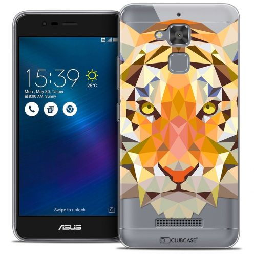 "Coque Crystal Gel Asus Zenfone 3 Max ZC520TL (5.2"") Extra Fine Polygon Animals - Tigre"